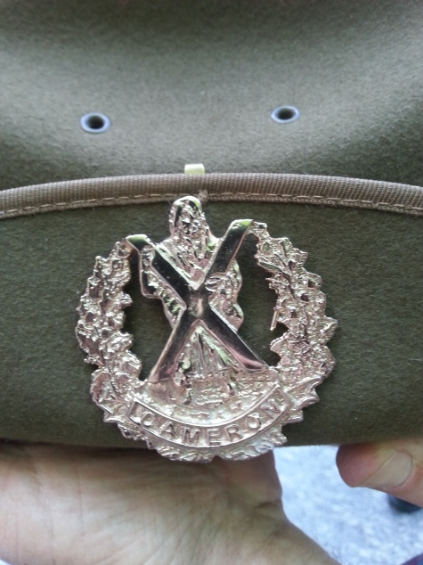 Cameron hat badge for ADF