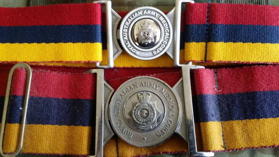 RAAMC Stable belts 1980s x1 and 2017 x1 b(both Boy Scout belt sytle buckles)