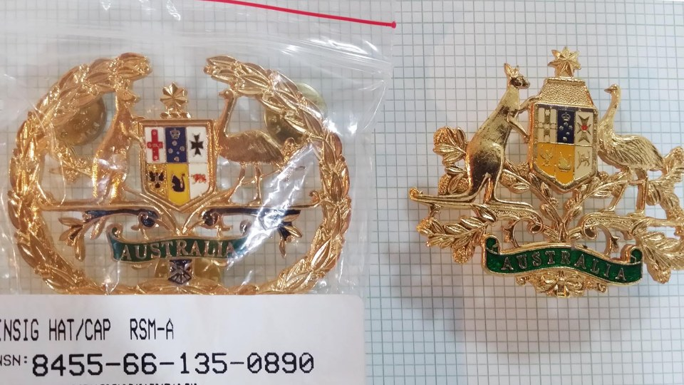 Brigade RSM and RSM-A Hat badges obverse detail